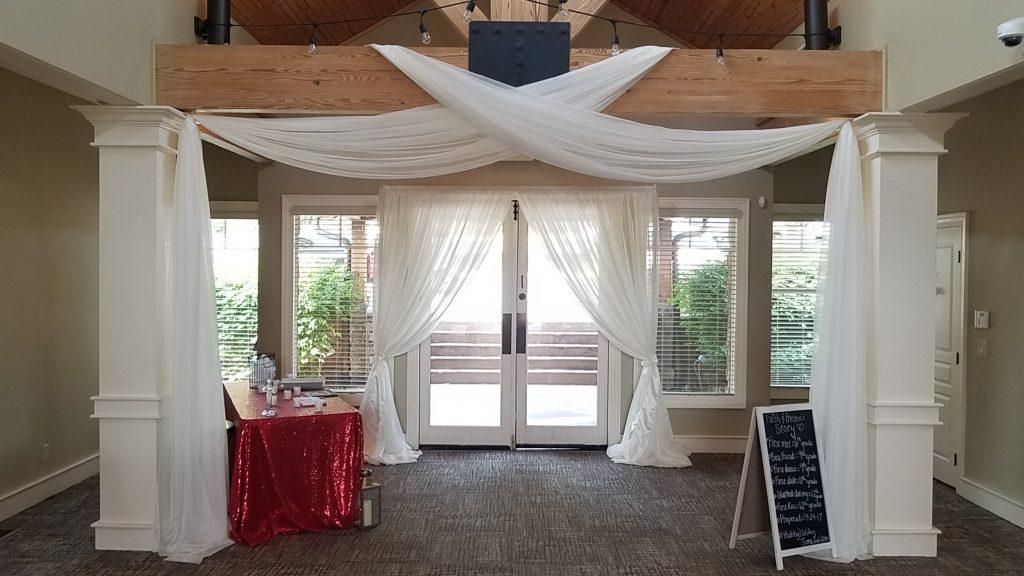 Wedding drapes, doorway, rent, lake of the ozarks